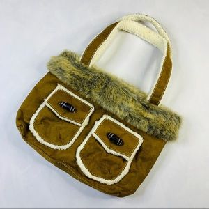 Bath & Body works faux fur purse med brown